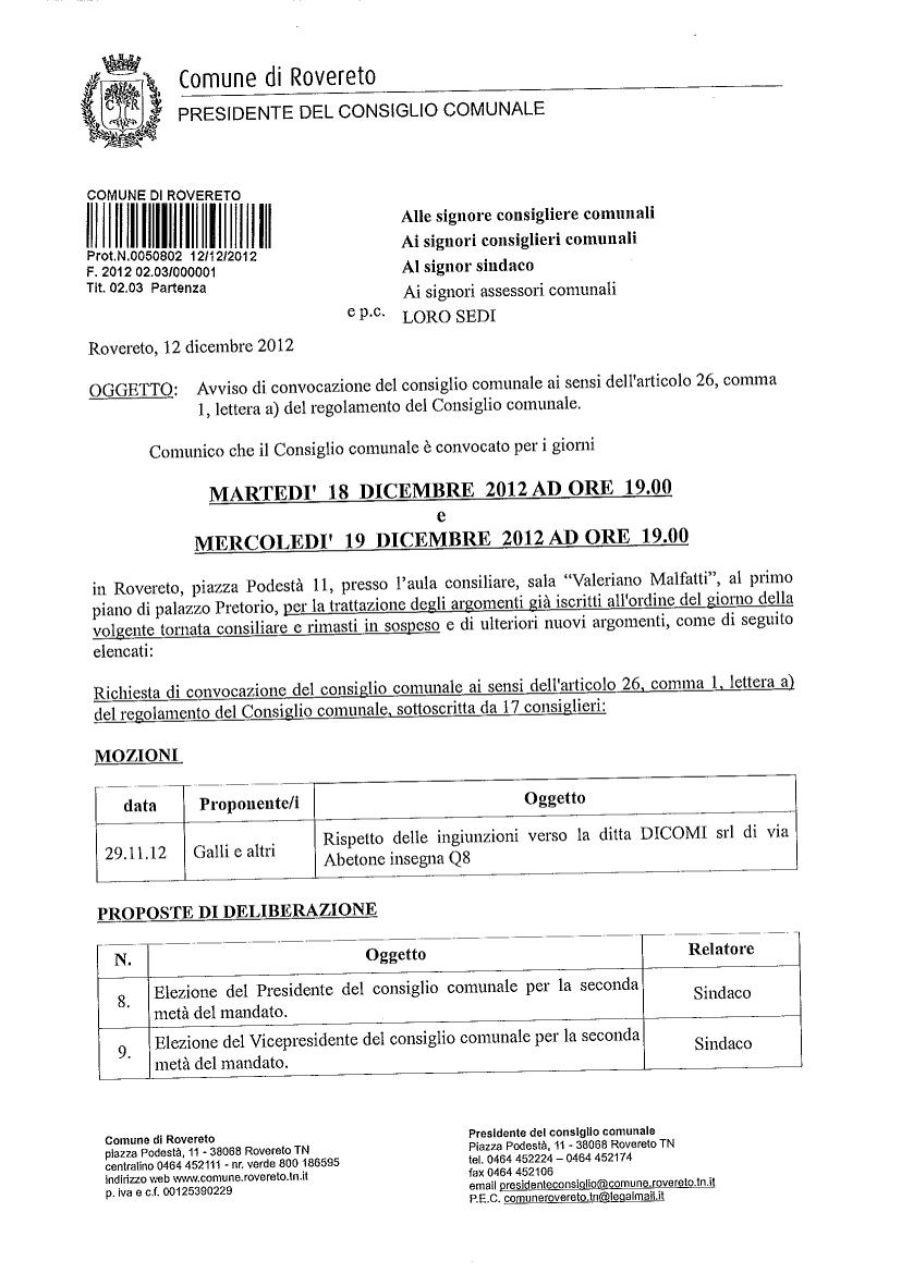 convocazione Consiglio comunale 18 e 19 dicembre 2012-1