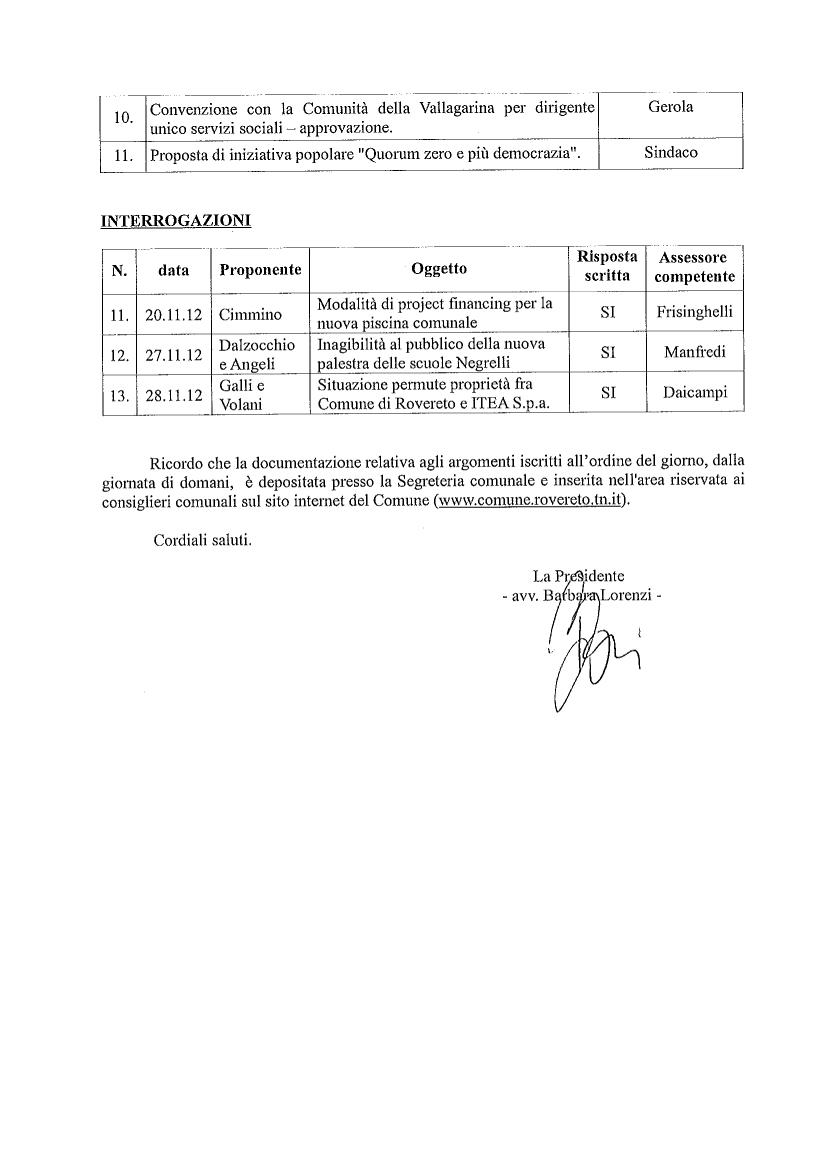 convocazione Consiglio comunale 18 e 19 dicembre 2012-2